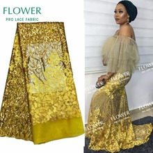 Nigerian Gold Sequins Net Lace African Guipure Lace Fabric Latest French Swiss Voile Laces 2017 India Women Wedding Dress Fabric(China)