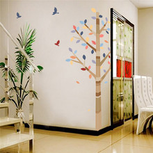 * Forest Colorful Tree Birds Pvc wall stickers home Living Room Bedroom decor TV Background Sofa wall decals child wall Decals