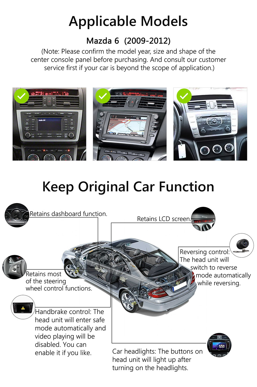 Eonon GA8198 8″ Android 7.1 Car Stereo DVD GPS Tracker For Mazda 6 2009 2010 2011 2012 Touch Screen 1024*600 WiFi DAB+