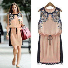 GZDL Vintage Women Ladies Female Chiffon Floral Sleeveless Tunic Waisted Casual Party Mini Shift Dress Vestido One Piece CL0472
