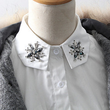 Ladies Female Rhinestones Decorative Shirt Fake Collar Autumn winter new cotton Slim fake collar handmade tailored high - end(China)