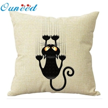 Ouneed 2017 cat pattern Linen Creative decorative Cushion Cover throw pillows case for Sofa Car covers DROP SHIP(China)