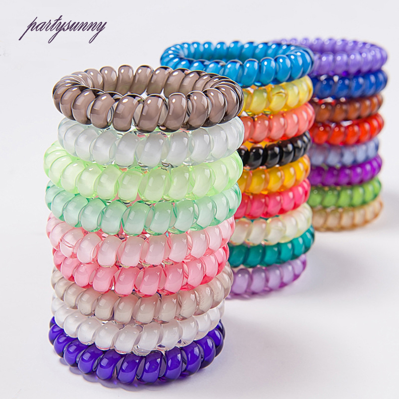 PF Large Candy Color Hair Bands for Girls Elastic Telephone Wire Scrunchie Hair Tie Ring Headbands for Women Accessories TS0579(China (Mainland))