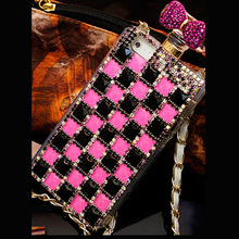1 Pc/lot Luxury DIY Perfume Bottle Bow Bling Diamond Crystal Cell Phone Case with Chain For iphone6s plus 5s
