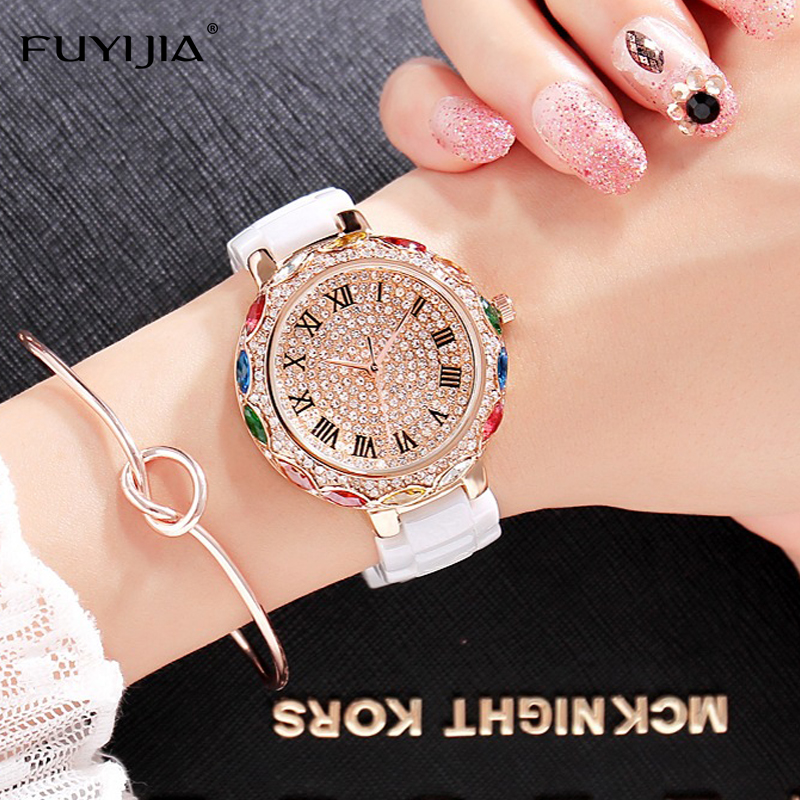 2018 New Womens Watch Luxury FUYIJIA Quartz Watches Ladies Color Ceramic Bangle Watch Rose Gold Diamond Waterproof Watch Lady<br>