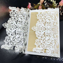 10Pcs Wedding Party Invitation Card Romantic Invitation Laser Cut Delicate Carved Pattern Wedding Invitations Party Supplies 7Z