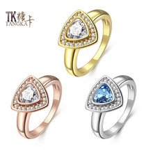 TANGKA new fashion triangle belt ladies titanium steel ring princess cut crystal multicolor zircon commitment jewelry sales