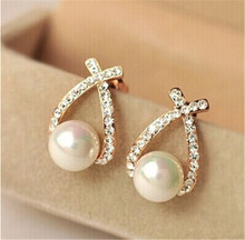 Atreus Nice shopping!! 2017 Gold Color Crystal Stud Earrings Brincos Perle Pendientes Bou Pearl Earrings For Woman