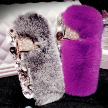 3D Rabbit Fur Case For iPhone 7 Case Luxury Bling Diamong Fox Head Cover For Coque iPhone 6S Case For iPhone 7 Plus 6 6S Plus 5S
