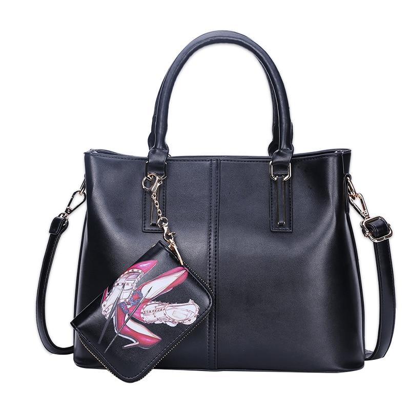 Solid Elegant Women Handbag PU Leather Shoes Print Casual Ladies Composite Bag Large Capacity Crossbody Messenger Bags<br>