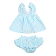 USA Cute Princess Newborn Toddler Kid Girl Blue Pink Plaid Tops+Shorts Pants 2PCS Set Baby Summer Outfits Set