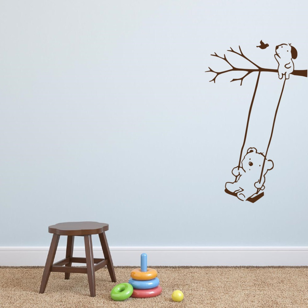 compare prices on modern baby swing online shoppingbuy low price  - wall decal vinyl bear on swing sticker little dog bird tree wall decals forkids rooms
