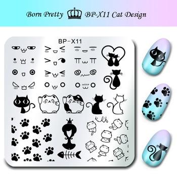 Lindo Gato Diseño Nail Art Sello Estampado de Placas NACIDO PRETTY 6*6 cm Cuadrados de Placa de la Imagen Plantilla de Gatos BP-X11