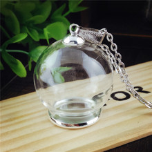 5sets/lot 30*20mm glass globe silver color 20mm base 8mm cap set Glass vial pendantglass pendant hollow glass dome charms(China)