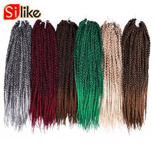 "Silike 1 Pack/lot Ombre Black Gray 3S Small Box Braids Crochet Hair Extensions 24 Roots 18"" Micro Crotchet Braiding Hairstyles(China)"
