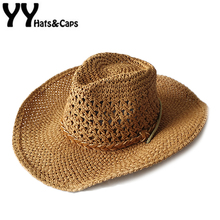 Handmade Straw Cowboy Hat Kids Hollow Western Hats Summer Beach Felt Sunhats Cap Children Western Cowboy Gorra Vaquero YY17155(China)