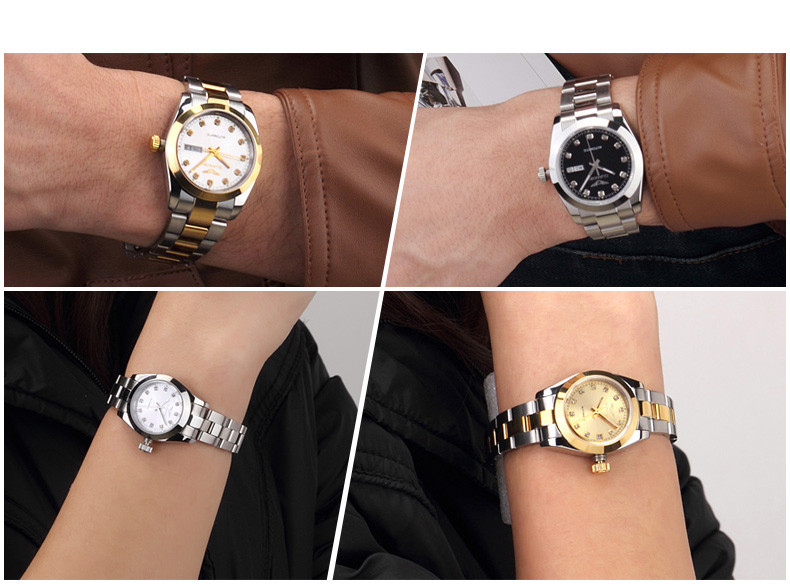 GUANQIN Gold Couple Watch Men Women Mechanical Watch Luminous Calendar Week Waterproof Rhinestones Automatic Lovers Watches (11)