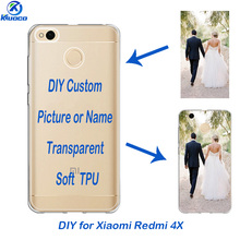 5.0 inch DIY Soft TPU For Xiaomi Redmi 4X Phone Case for Hongmi 4X Shell Custom Photo Transparent Back Cover Thin 0.5mm Fundas