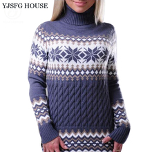 YJSFG HOUSE Autumn Winter Women Long Sleeve Turtleneck Knitted Pullovers Christmas Sweaters Casual Floral Printed Jumper Poncho