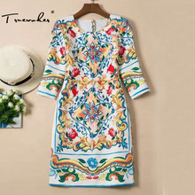 Truevoker Designer Dress Women's High Quality 3/4 Sleeve Fancy Flower Printed Embossed Plus Size XXL Dress