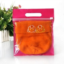 50pcs High quality White/Rose red Nonwoven Handbag Clear Front Plastic Clothing packing Bags Zipper Grip seal Bag Retail 45x57cm