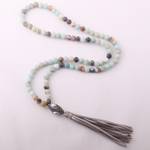 Free Shipping Fashion Amazonite Stones Bohemian Tribal Jewelry Oval Pearl Crystal Ball Stone Necklace(China)