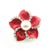 High quality red enamel Flower Snap Button Jewelry  peral Snap Button  Fit 18mm Snap Button Bracelet 10pcs/lot