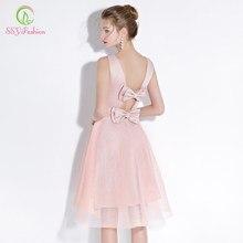 SSYFashion nuevo Simple corto vestidos de cóctel Rosa dulce satén con tul  sin mangas de la rodilla-longitud del partido vestido . cfa5a665e6cb