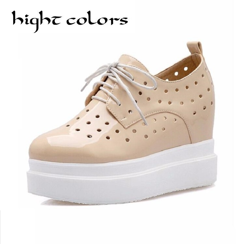 Apricot+Whie+Black Women Casual Shoes Height Increasing 2017 Summer Shoes Womens Sport Fashion Wedges Platform Shoes Breathable<br>