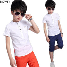 Children's Clothing Boy New Summer Suit 2017 Pure Cotton Short Sleeve + Middle Pants Casual Fashion Kids Clothes 2psc Set DC399