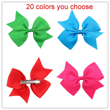 4inch grosgrain ribbon hair bow with clip boutique quality girls hairbow red lime green black blue rose etc.