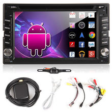 Android  2Din Car DVD Stereo In Dash HD TouchScreen Car Radio Media Player built-in GPS Navigation WIFI+Free backup Camera+TV