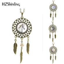 Simulated Pearl White Horse Necklace Dreamcatcher Pendant Running Horse Jewelry Dream Catcher Feather Necklace DC-00529