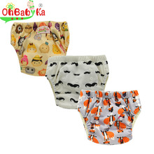 Ohbabyka Baby Training Pants Newborn Diaper Cover Reusable Infant Learning Pants Bamboo Diaper Training pants Children Underwear(China)