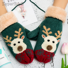 Christmas Gloves For Women Winter Mittens Cute Cartoon Print Knitted Warm Glove Ladies Outdoor Full Finger Driving Gloves(China)