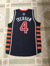 #13 Tim DUNCAN #4 ALLEN IVERSON Team USA Vintage Throwback Basketball Jerseys,Tim DUNCAN Retro Men cheap Customized Embroidery a