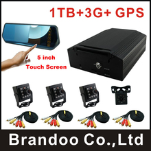 3G 4CH HDD CAR DVR kit, 4 cameras recording, 1TB HDD+3G+GPS function, for taxi,bus,train,truck used, brandoo hot sale(China)
