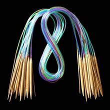 "18Pcs 39"" 100cm Multicolor Plastic Tube Circular Carbonized Bamboo Knitting Needles Yarn Craft Handcraft Tool Set(China)"