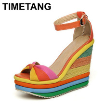 TIMETANG Platform Sandal 2017 Summer Ladies Shoes Bohemia Rainbow Thick Sole Sponge High Heel Wedge Open Toe Women Sandals(China)