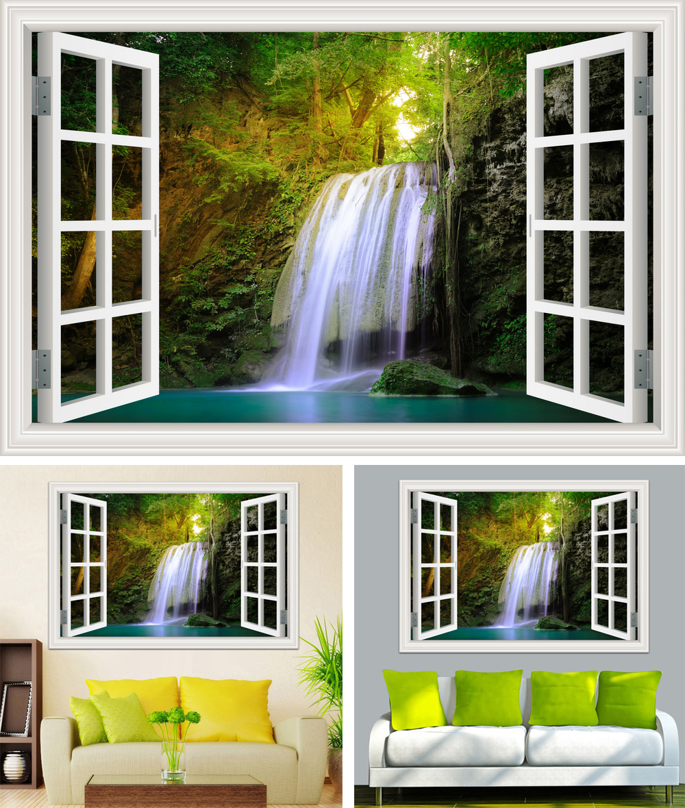 HTB1V4zYcFYM8KJjSZFuq6Af7FXay - Waterfall 3D Window View Wallpaper Nature Landscape Wall Decals for Living Room