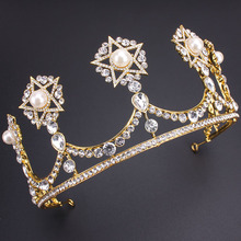 2016 New Vintage Star Gold Bridal Tiaras Crowns Crystal Rhinestone Pageant Tiara Bridal Wedding Accessories Headpiece Headband(China)