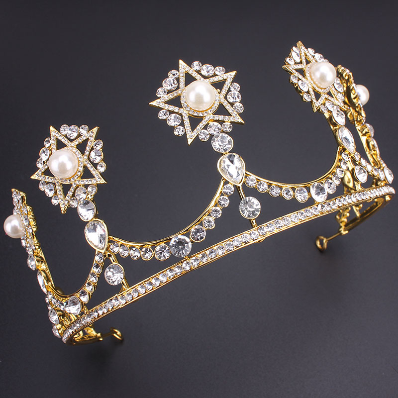2016 New Vintage Star Gold Bridal Tiaras Crowns Crystal Rhinestone Pageant Tiara Bridal Wedding Accessories Headpiece Headband(China (Mainland))