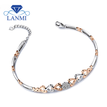Lovely Style Heart Shape Solid 18Kt Two Tone Gold Natural Diamond Bracelet,18k Gold Diamond Engagment Bracelets For Women NA0032(China)