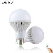Buy LAN MU LED Sound/Voice Sensor Lamp E27 220V Led Bulb 3w 5w 7w 9w 12w White Auto Smart Infrared Body Sensor Light for $1.44 in AliExpress store