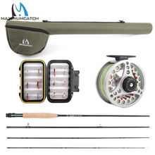Maximumcatch 5WT Fly Fishing Combo 9FT Medium-fast Fly Rod Pre-spooled Fly Reel 5F Fly Line With Cordura Triangle Tube(China)