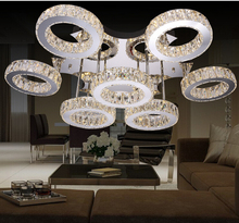 Free Shipping LED Stainless Steel Crystal design Modern Clear crystal LED ceiling light LED Ceiling Lamps AC 100% Guaranteed(China)