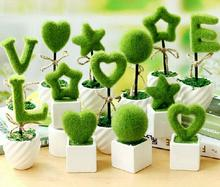 2pcs Love/Star/Heart/Ball Bonsai Suit Potted Plant Grass For Home Office Decoration Furnishing Articles Gift