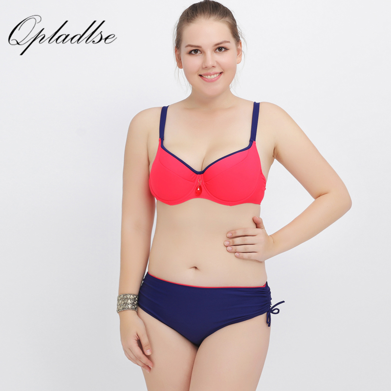 Solid Plus Size Swimwear Women Sexy 2017 New Hot Red Fashion Beach Wear Bikini High Waist 4XL Super Big Cup Bra Swimsuit Women<br>