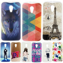Fashion Personality Painted patterns Soft TPU Back cover For Motorola Moto G2 G 2nd Gen XT1063 XT1068 Cell Phone Protective Case