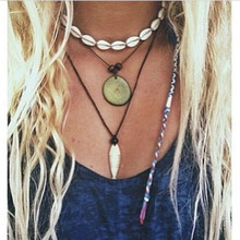 Boho Handmade Choker Necklace Statement Shell Tassel Necklaces Beach Adjustable Rope Chain Choker Necklace Shell Jewelry